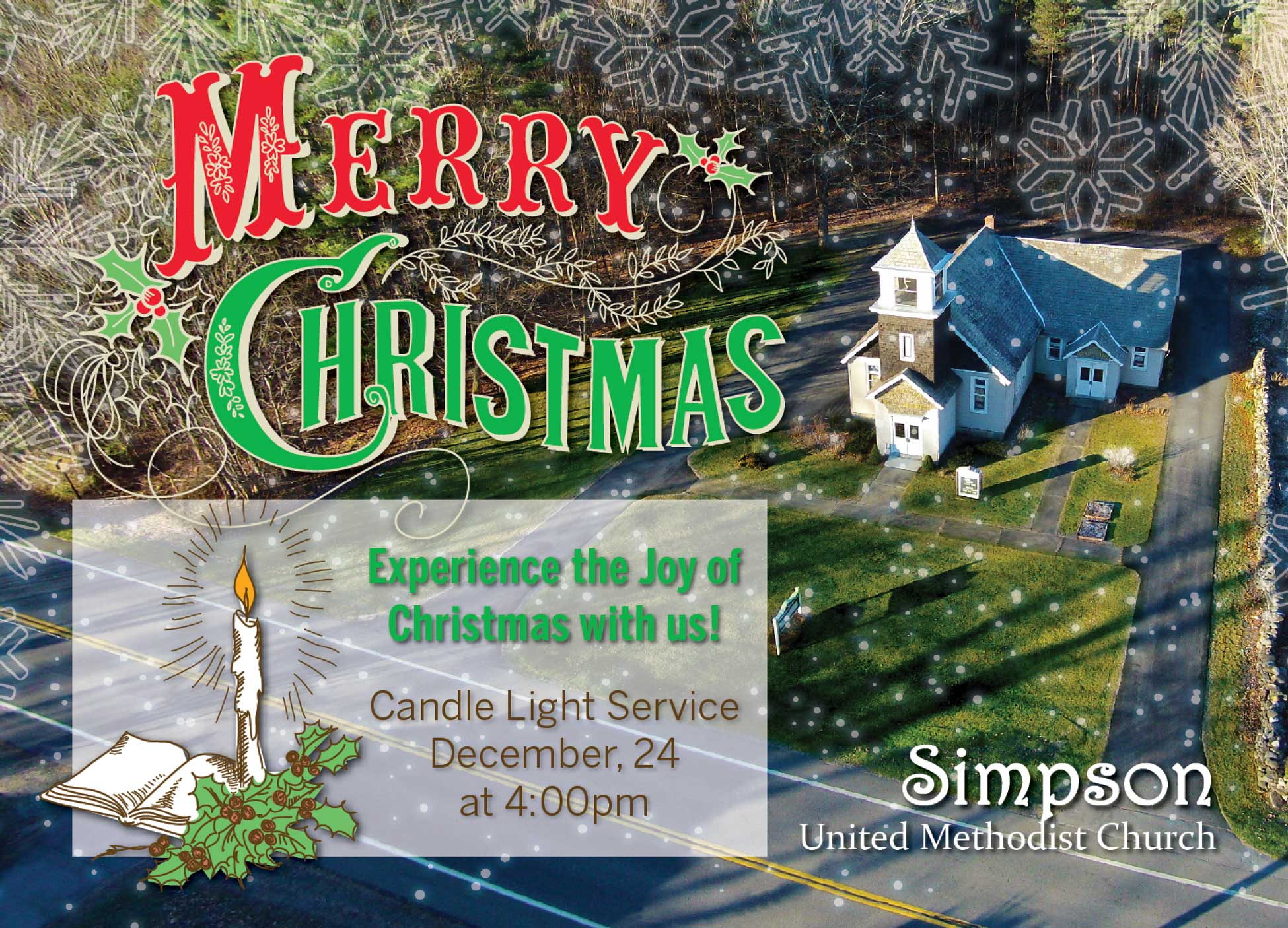 Image showing Every Door Direct Mail (EDDM) postcard design created for Simpson United Methodist Church in Rock City Falls, New York.