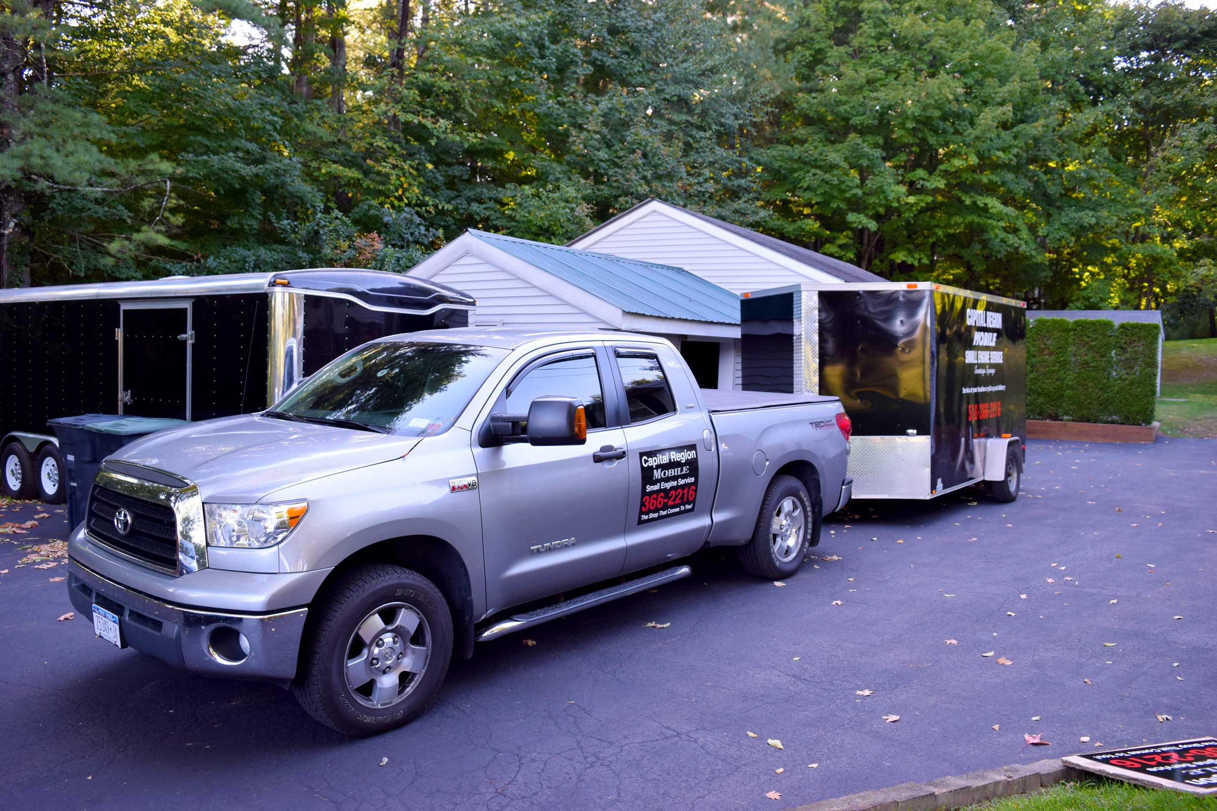 Photo of Capital Region Mobile Small Engine Service truck with magnet graphic created by SillyCar Design.