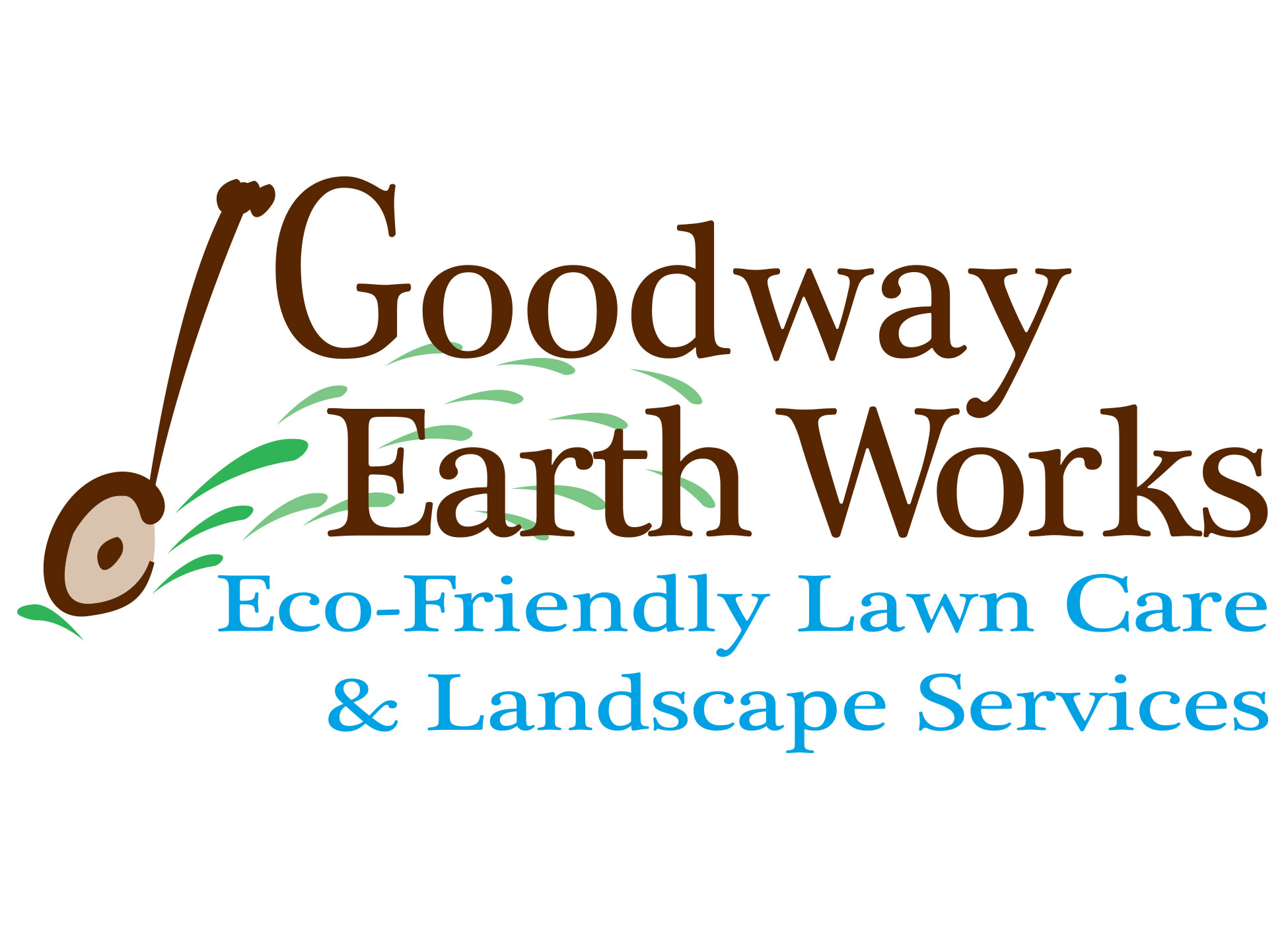 Image of business card front designed and created for Larry Goodwin of Goodway Earth Works Eco-Friendly Lawn Care Services.