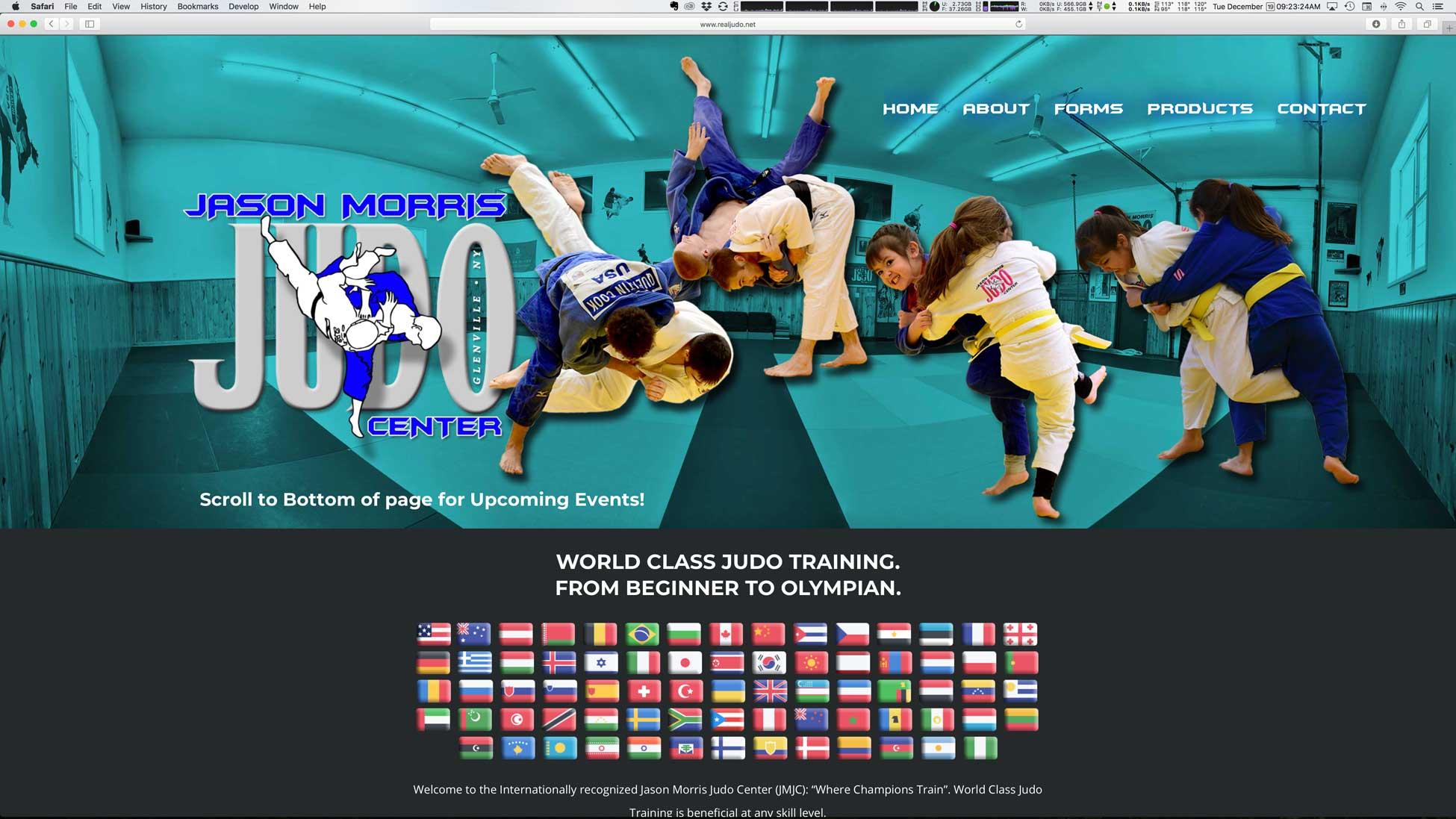 Image of Jason Morris Judo of Glenville, New York website homepage.
