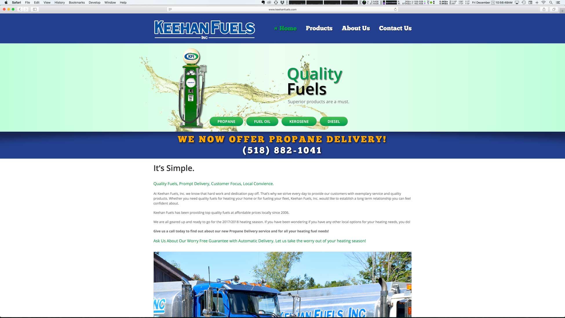 Image showing Keehan Fuels, Inc. website homepage.