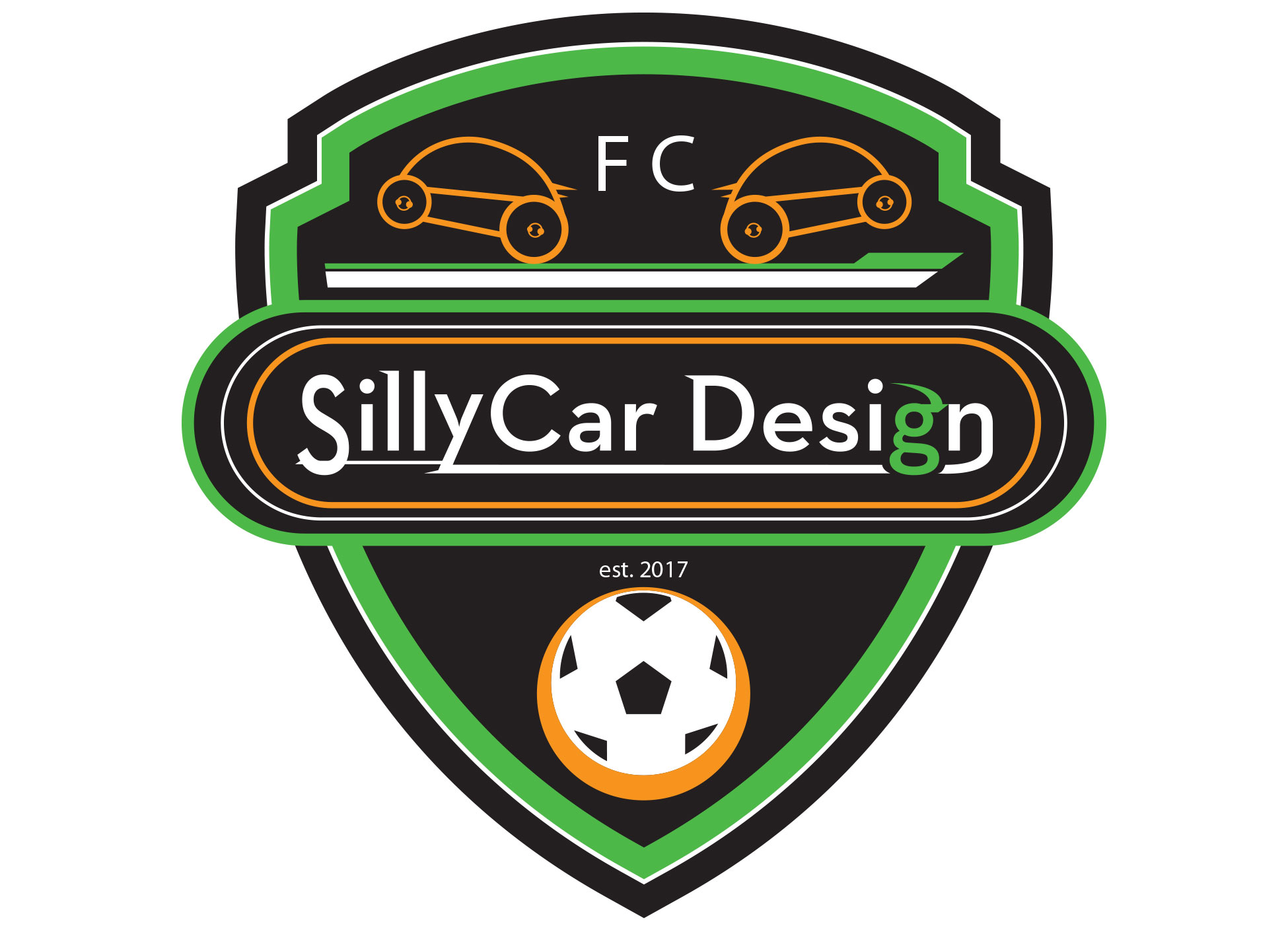 Image of SillyCar Design FC logo created for BARC soccer team.