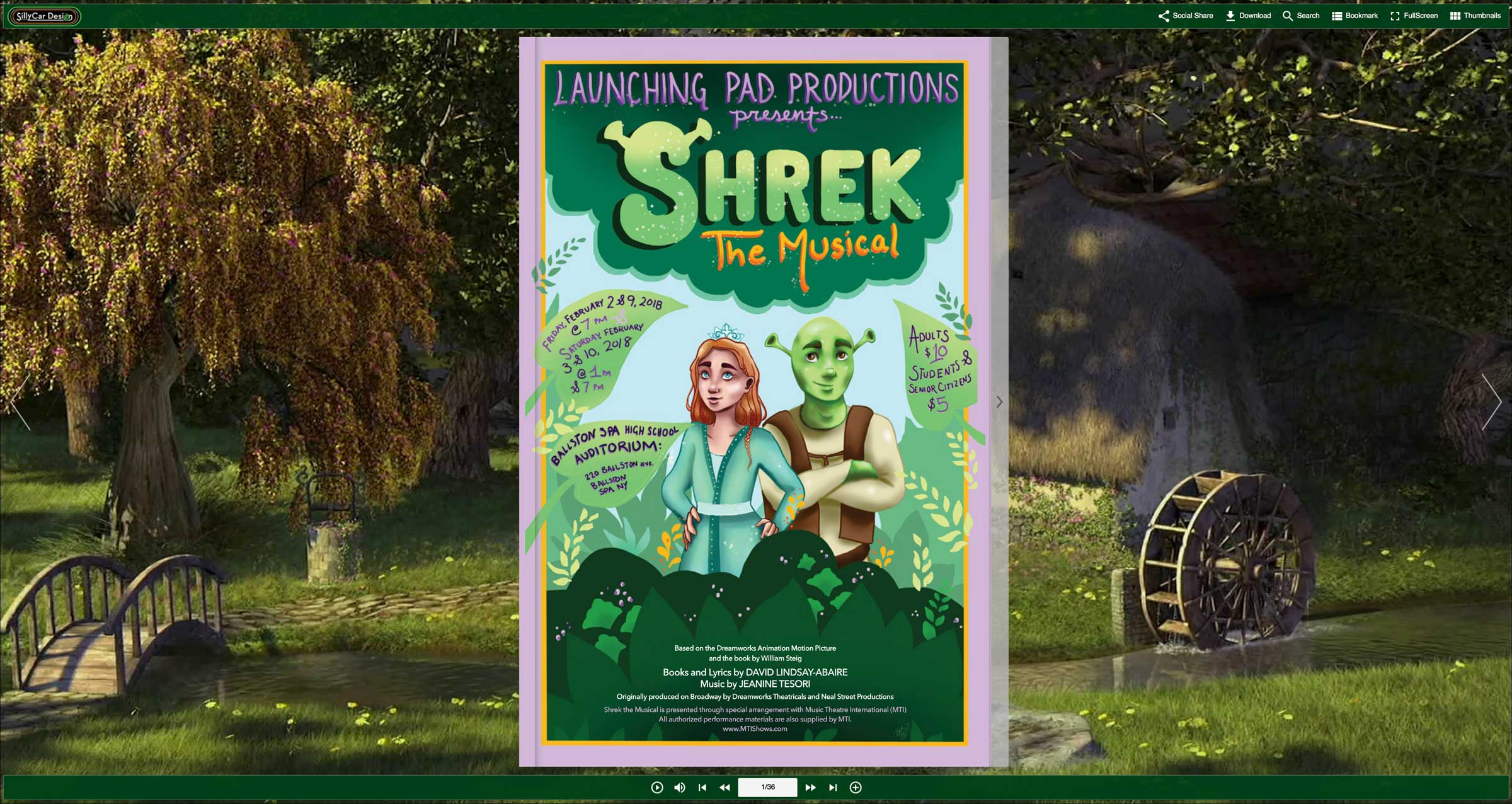 Image of Launching Pad Productions Shrek the Musical Playbill online flip book version.