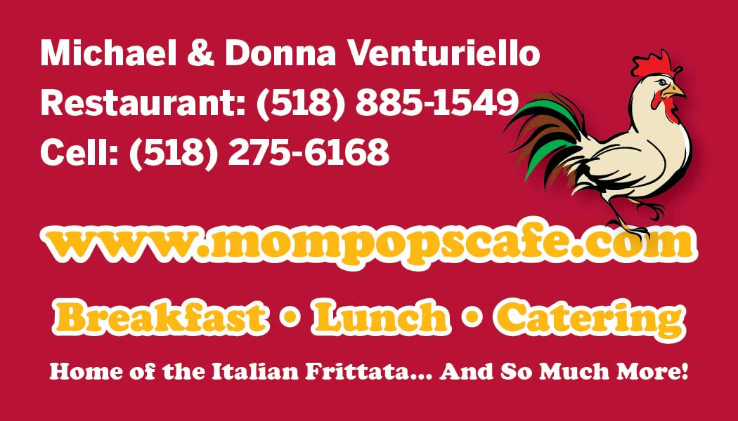 Image of business card back designed for Mom & Pop's Cafe in Ballston Spa, New York.