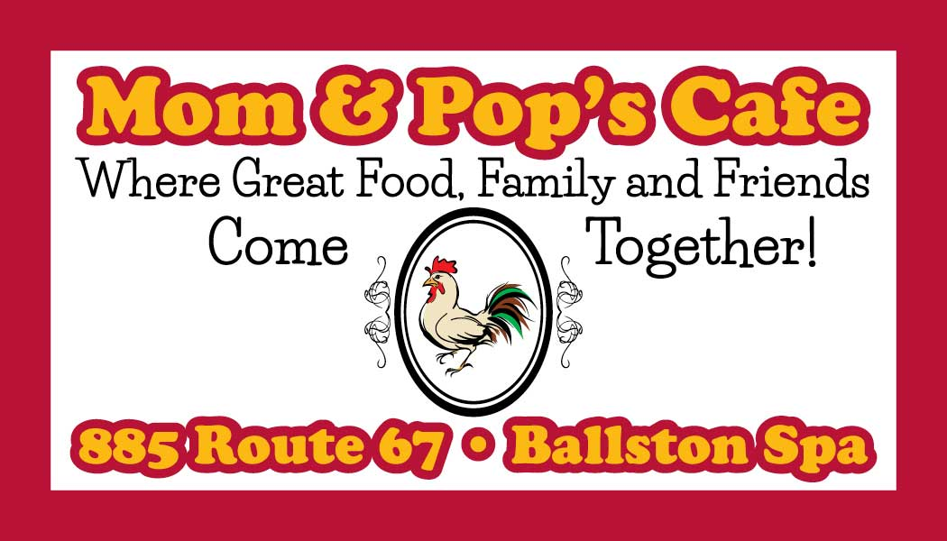 Image of business card front designed for Mom & Pop's Cafe in Ballston Spa, New York.