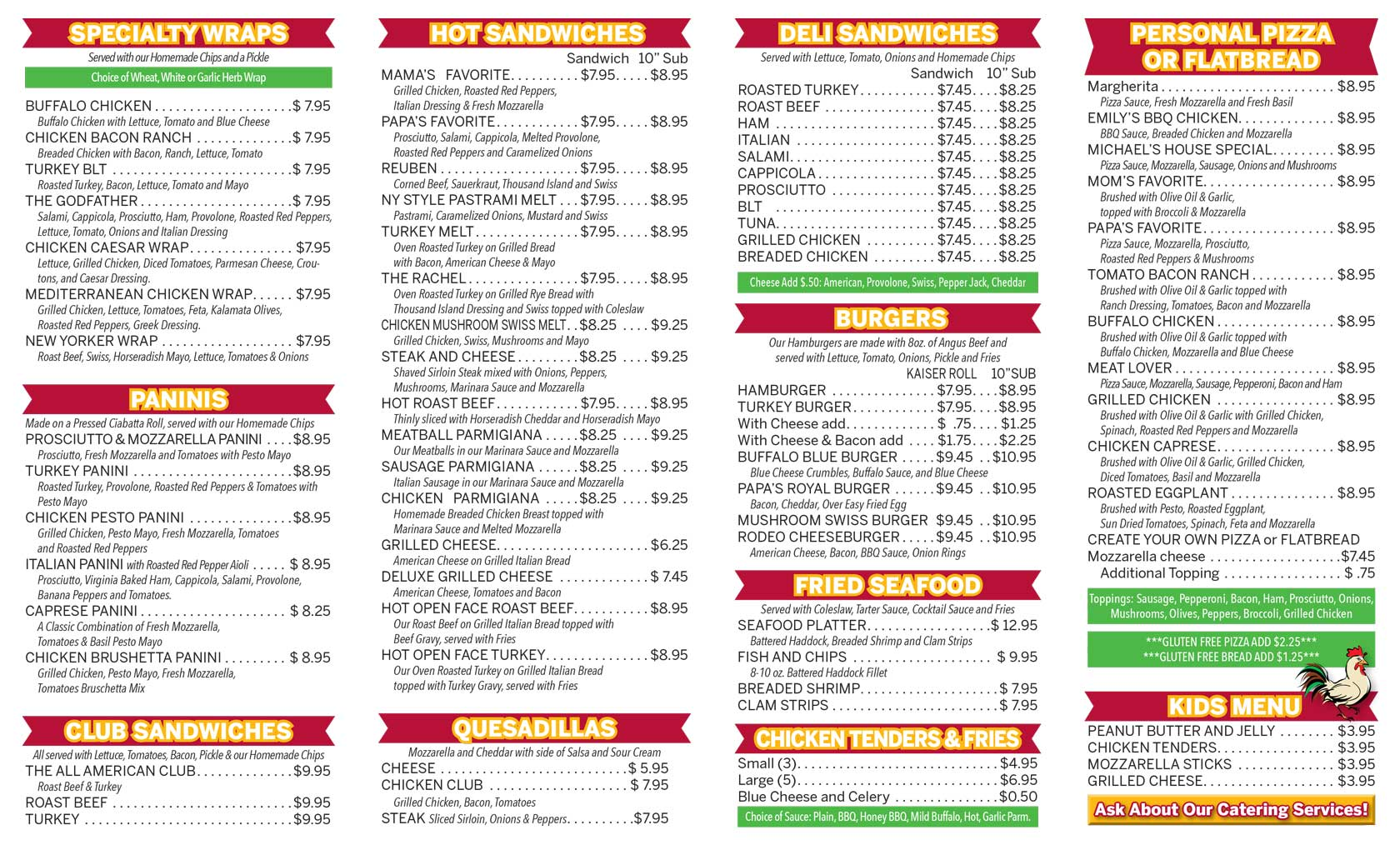 Image of take out menu designed for Mom & Pop's Cafe in Ballston Spa, New York.