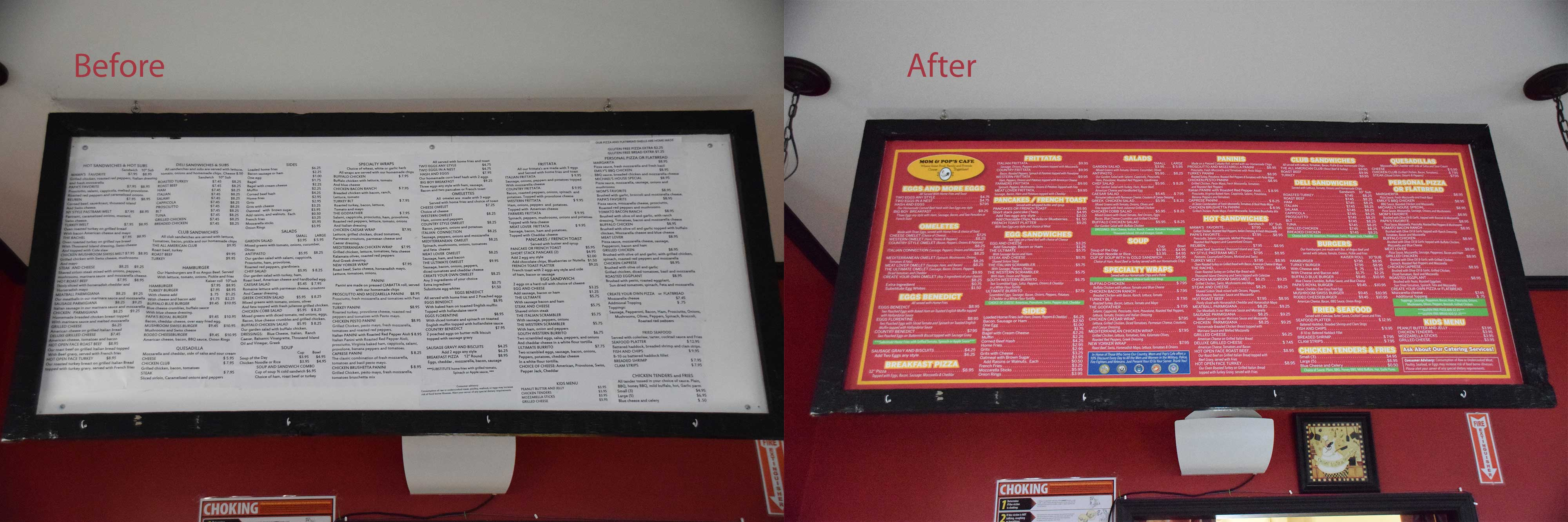 Before and after photo of counter signage designed for Mom & Pop's Cafe in Ballston Spa, New York.
