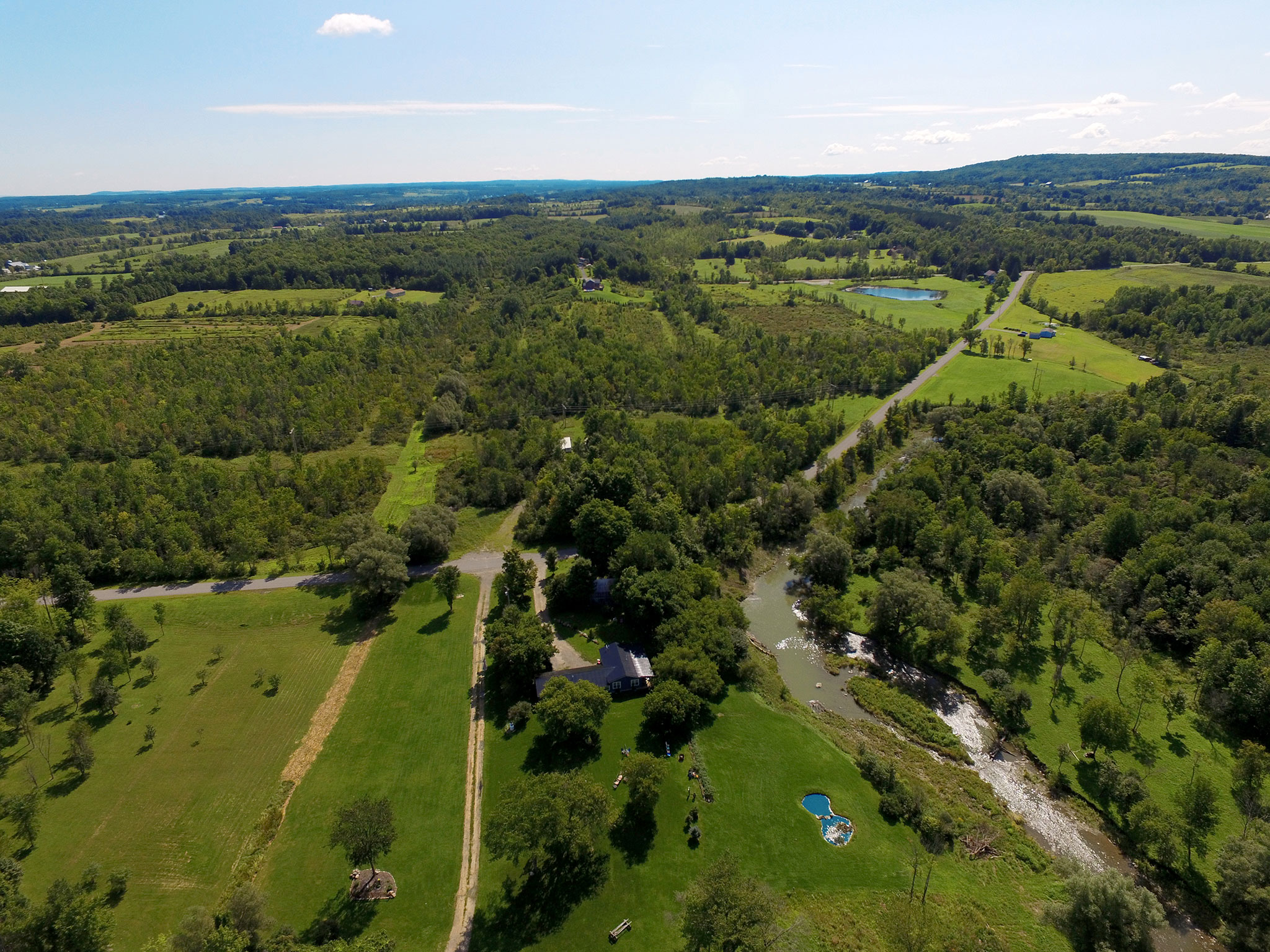 High altitude aerial photo of property in Canajoharie, New York.