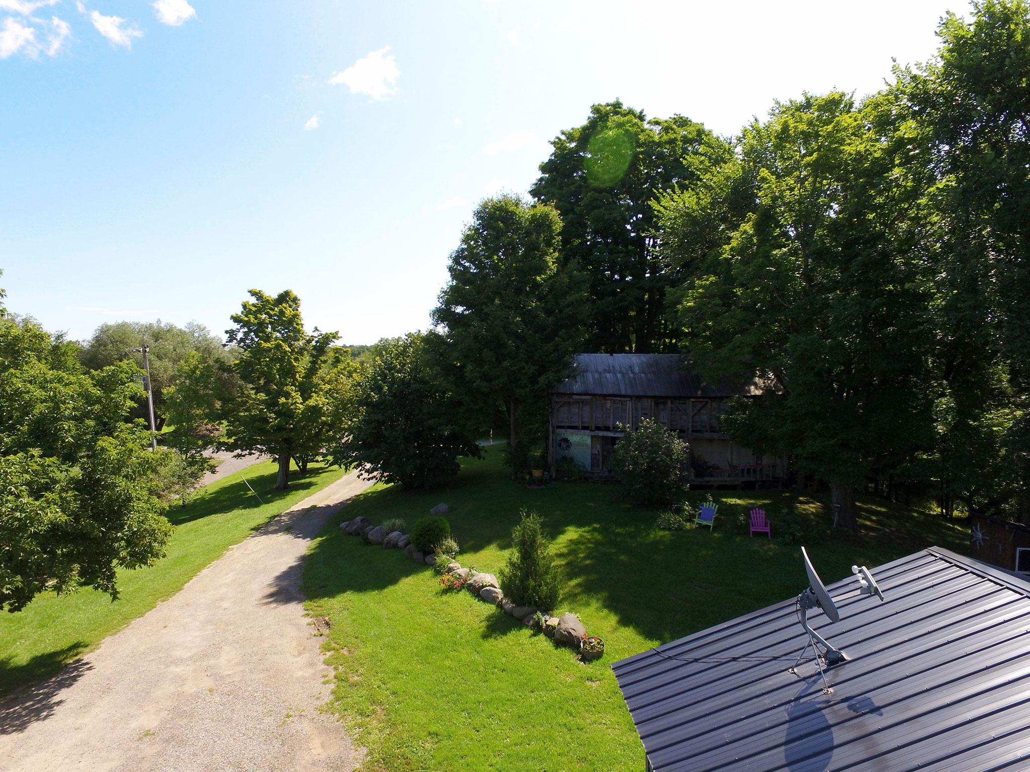 Aerial photo of front yard at property in Canajoharie, New York.