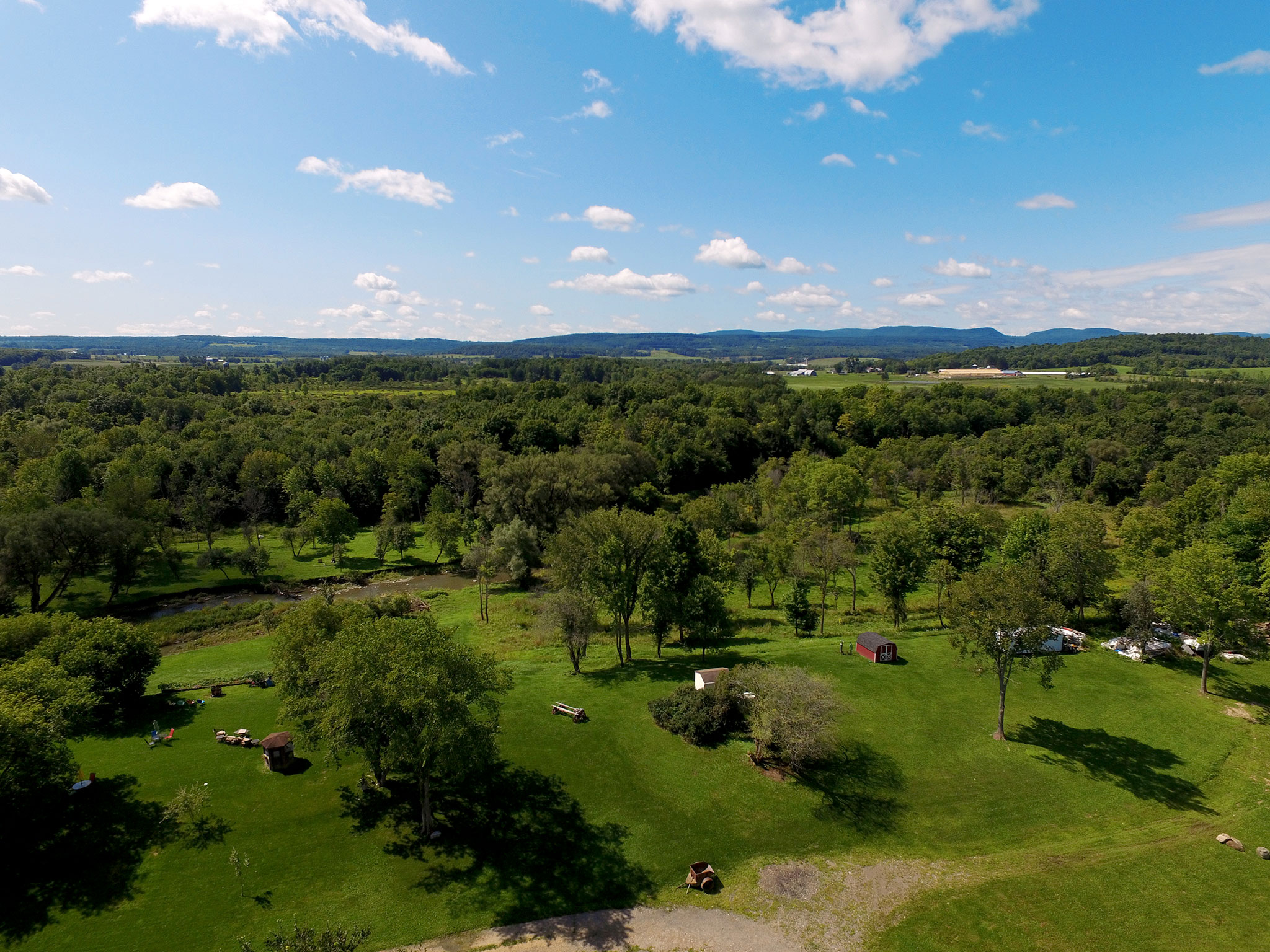 Aerial photo of backyard at property in Canajoharie, New York.