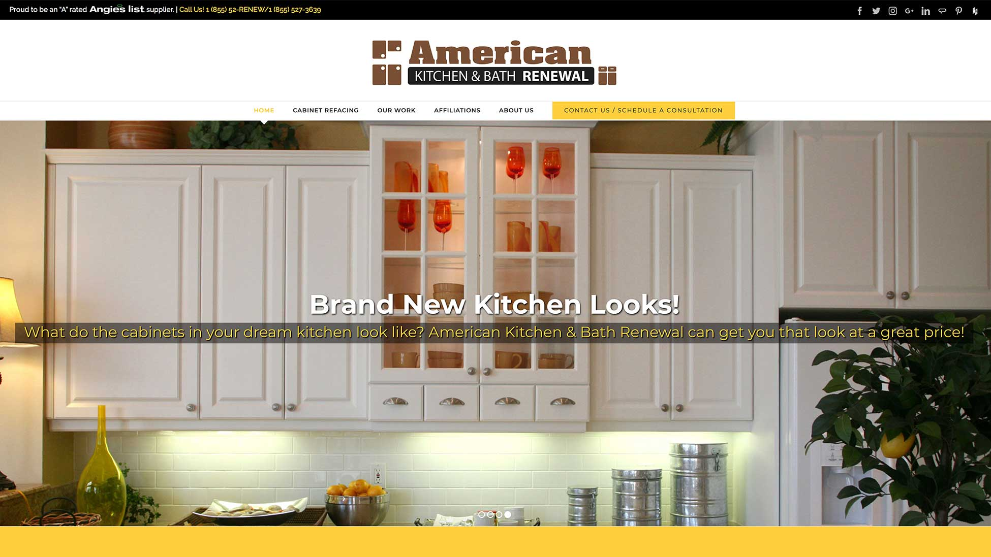 Image of American Kitchen and Bath Renewal website homepage.