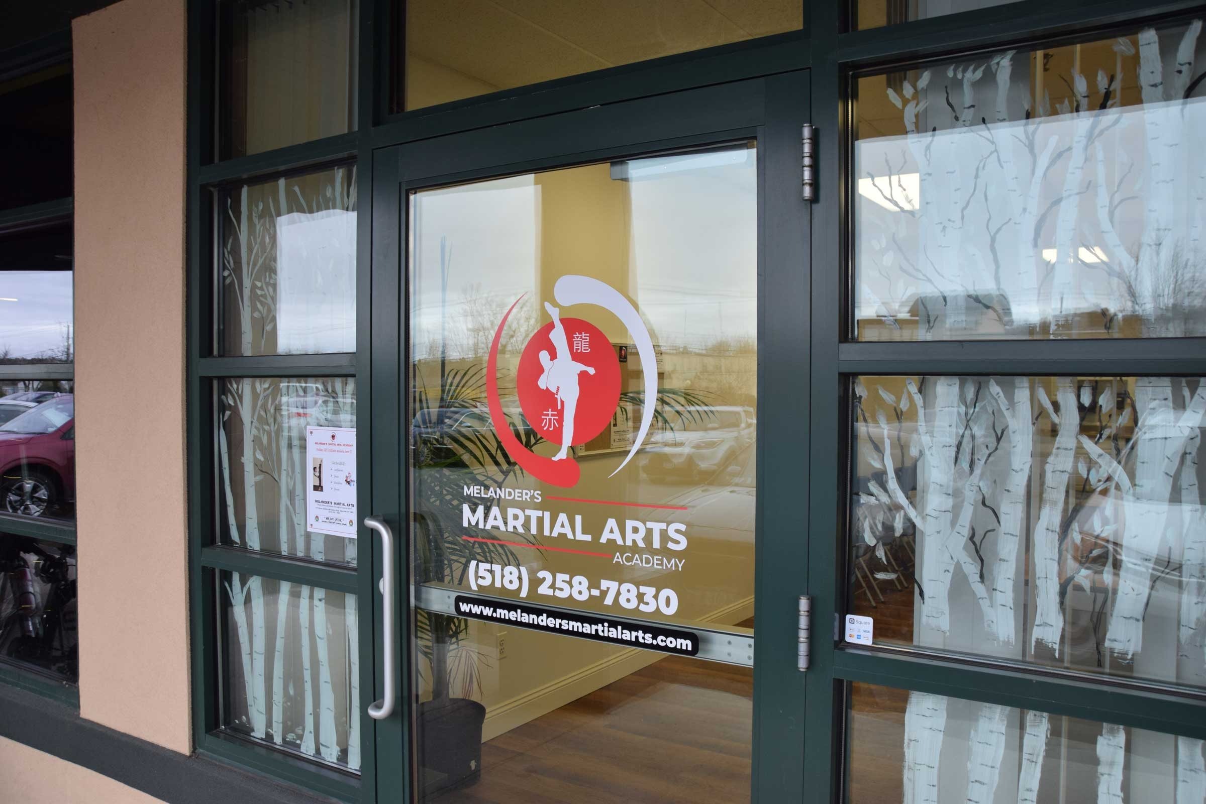 Photo of signage created for Melanders Martial Arts Academy in Glens Falls, New York.