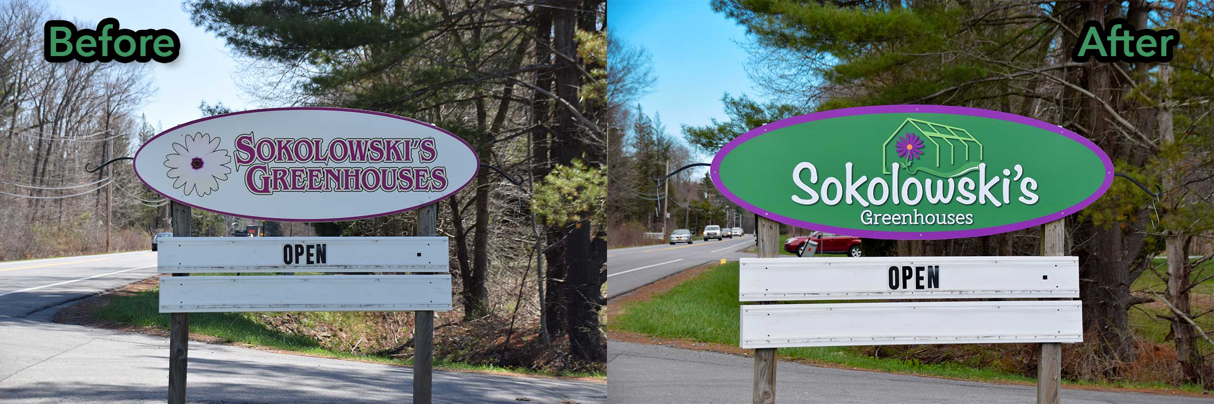 Before and after photo of signage created for Sokolowski's Greenhouses in Clifton Park, New York.