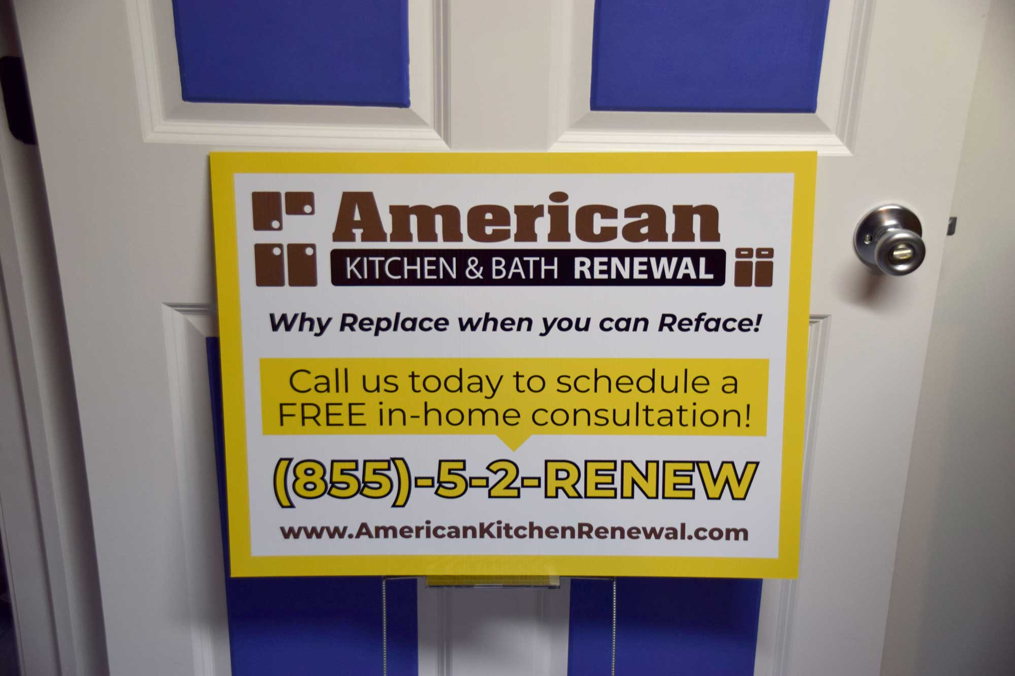 Photo of signage created for American Kitchen and Bath Renewal in Glens Falls, New York.