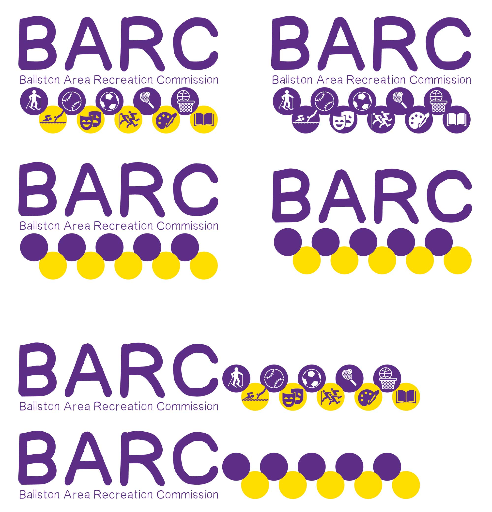 Image showing several variations of the BARC logo.