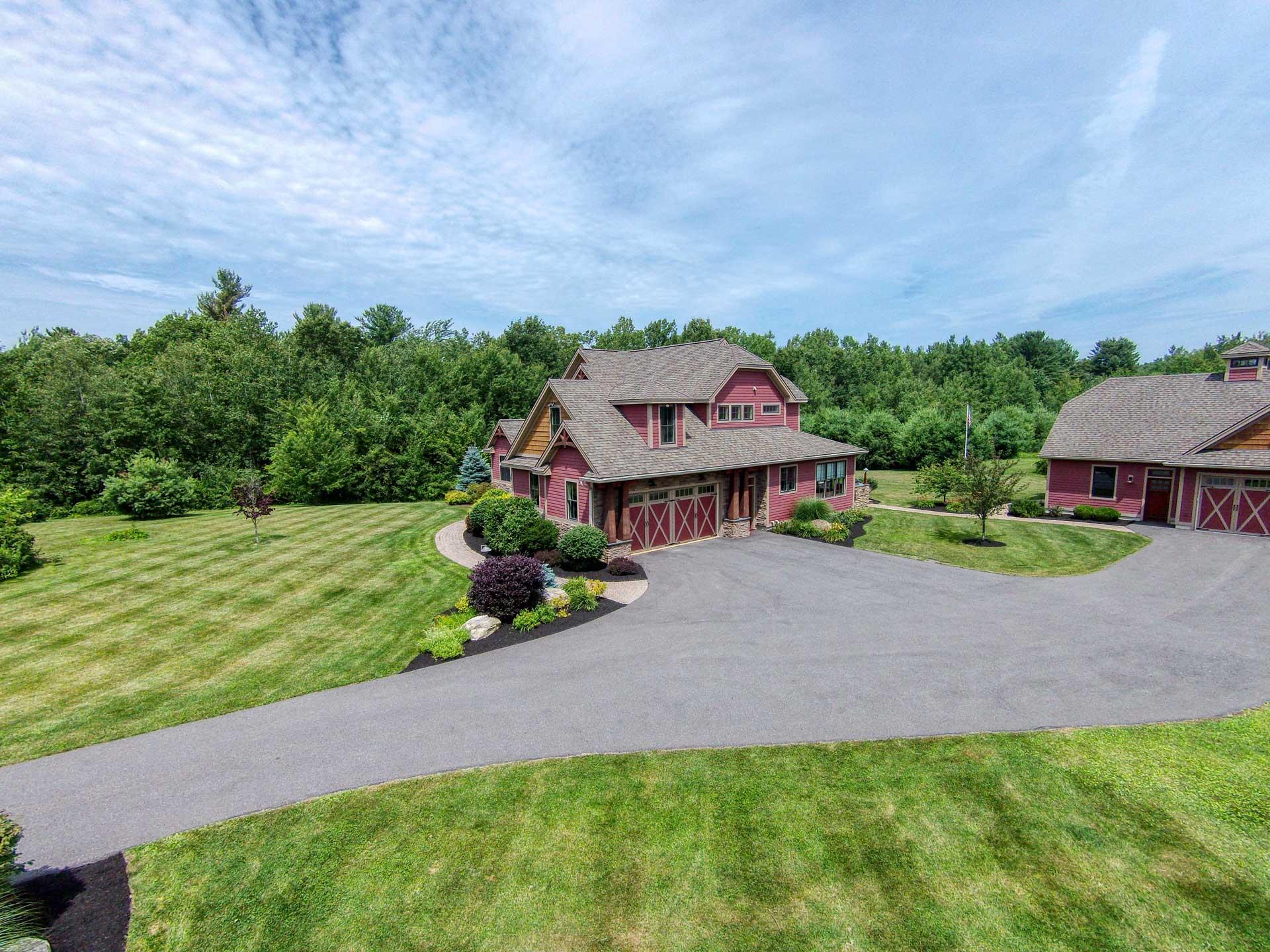 Low altitude aerial photo of home near Saratoga Lake.