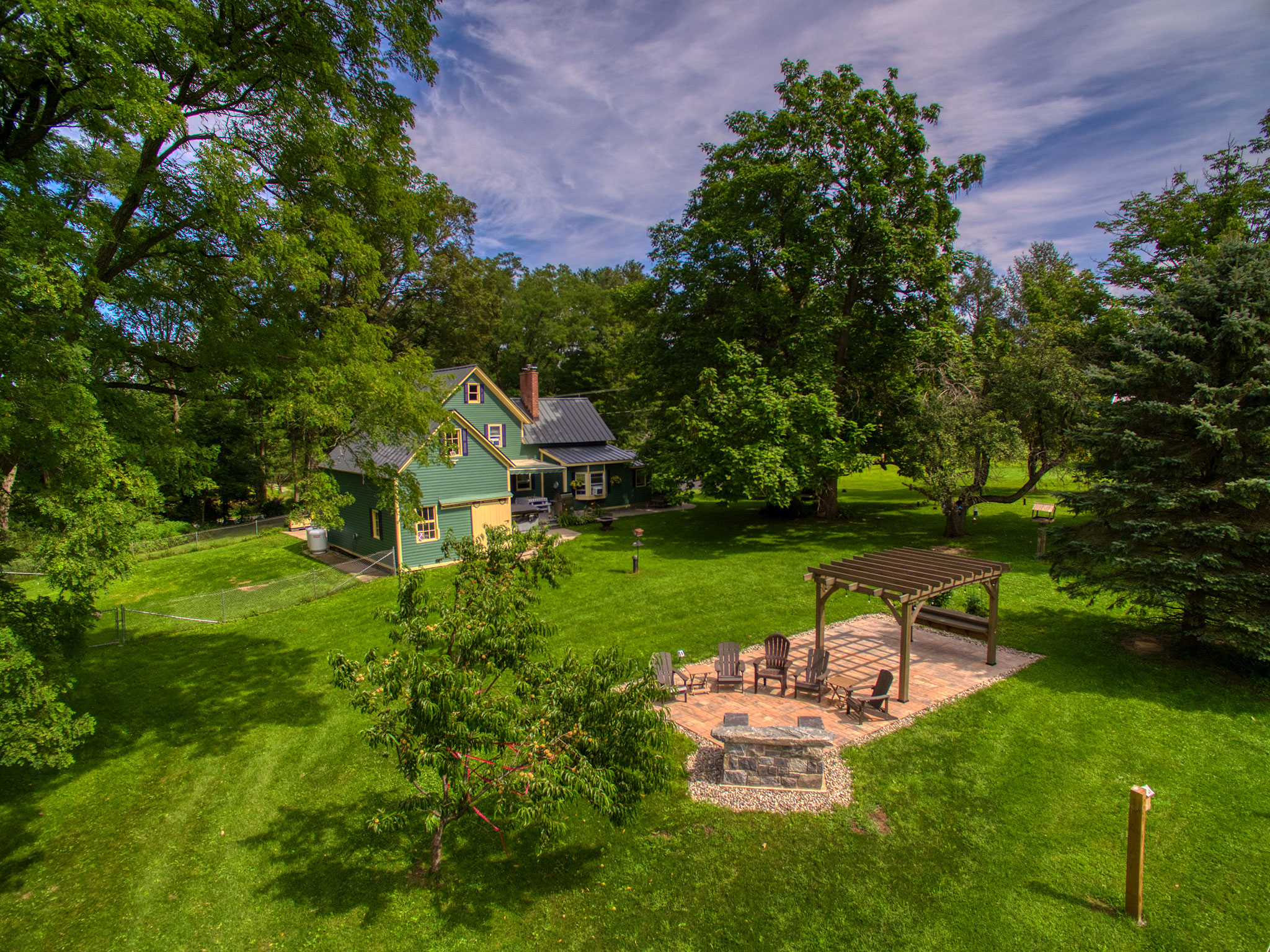 Aerial photo of property (back yard) in Perth, New York.