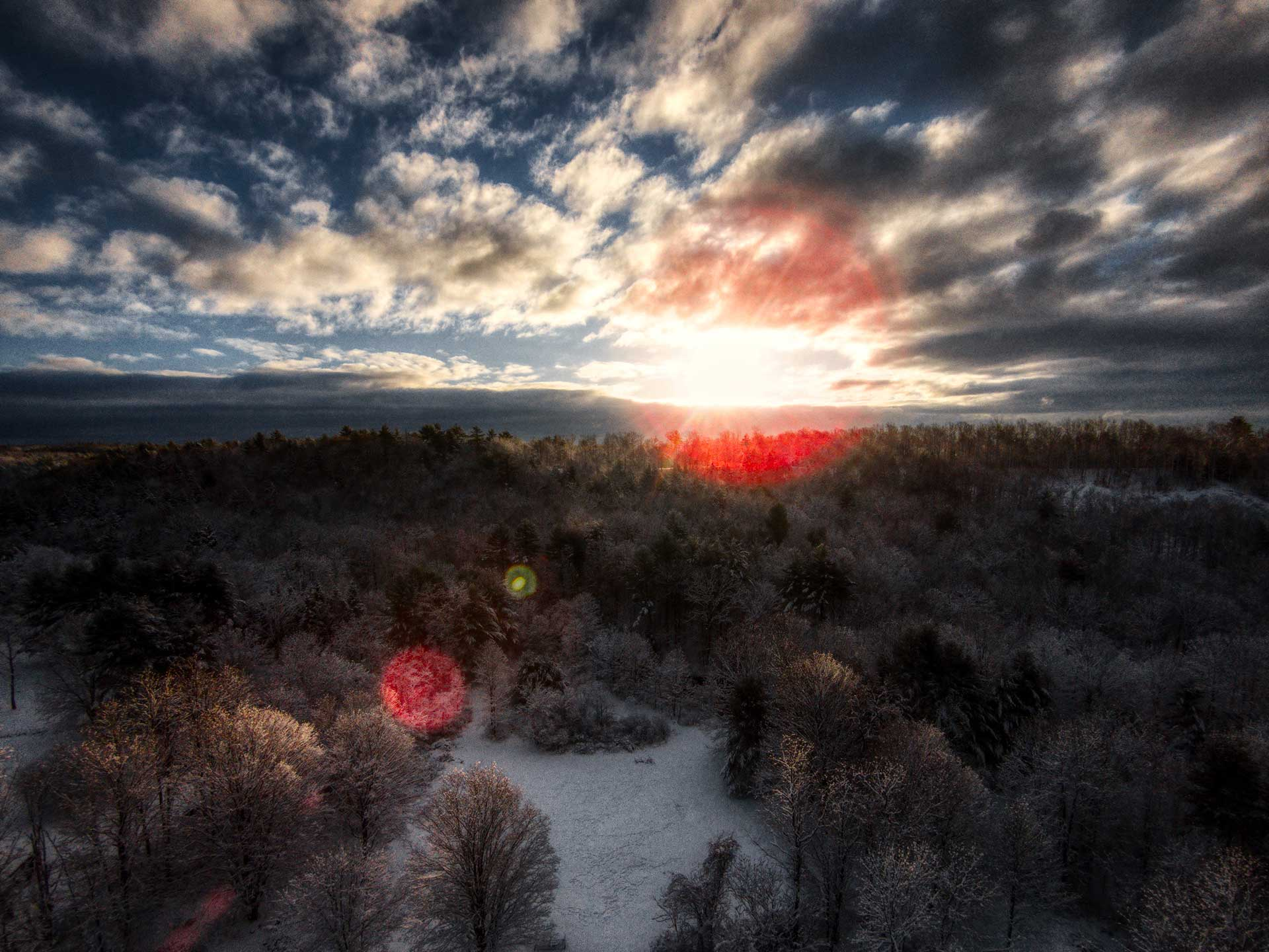 Aerial photo of early morning sky in Rock City Falls, New York.