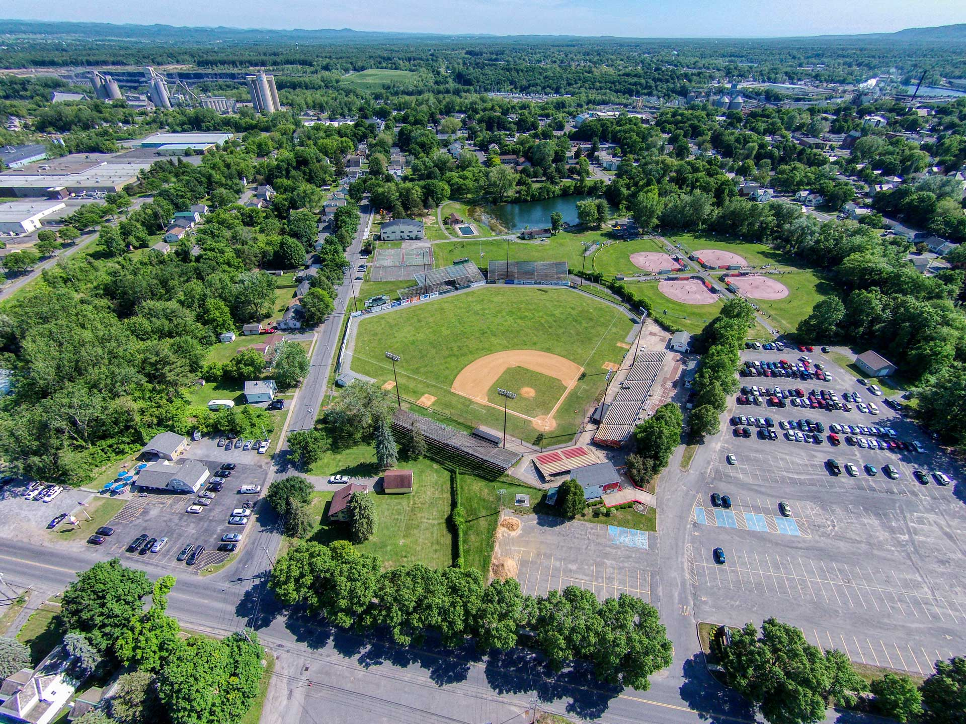 Aerial view of East Field in Glens Falls, New York, home of the Glens Falls Dragons Baseball team.